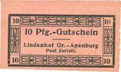 DEUTSCHLAND - NOTGELDSCHEINE (1914-1923) A - J Gross-Apenburg. Paul Zurleit. Lindenhof. Billet. 10 pf I