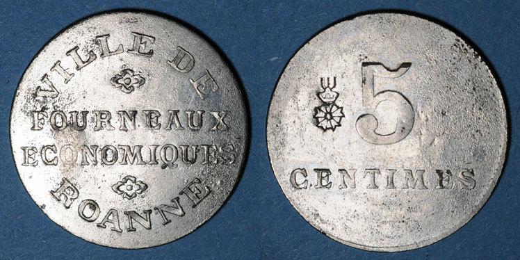 FRANZÖSISCHE NOTMÜNZEN Roanne (42). Ville de Roanne. Fourneaux Economiques. 5 centimes ss+ / ss
