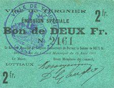FRANZÖSISCHE NOTSCHEINE Tergnier (02). Ville. Emission spéciale. Billet. 2 francs vz