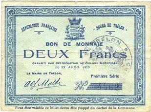 22.4.1915 FRANZÖSISCHE NOTSCHEINE Trélon (59). Bourg. Billet. 2 francs 22.4.1915, 1ère série Petites taches d'encre / revers, s-ss