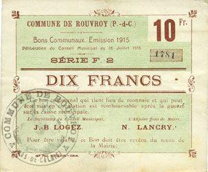 16.7.1915 FRANZÖSISCHE NOTSCHEINE Rouvroy (62). Commune. Billet. 10 francs 16.7.1915, série F2 ss+
