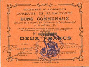 1914-12-20 FRANZÖSISCHE NOTSCHEINE Rumaucourt (62). Commune. Billet. 2 francs 20.12.1914 ss+