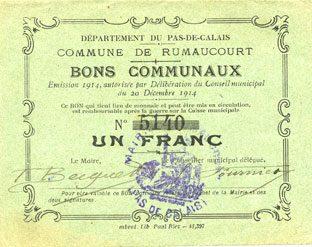 1914-12-20 FRANZÖSISCHE NOTSCHEINE Rumaucourt (62). Commune. Billet. 1 franc 20.12.1914 vz