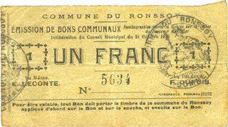 1915-10-21 FRANZÖSISCHE NOTSCHEINE Ronssoy (80). Commune. Billet. 1 franc 21.10.1915 ss