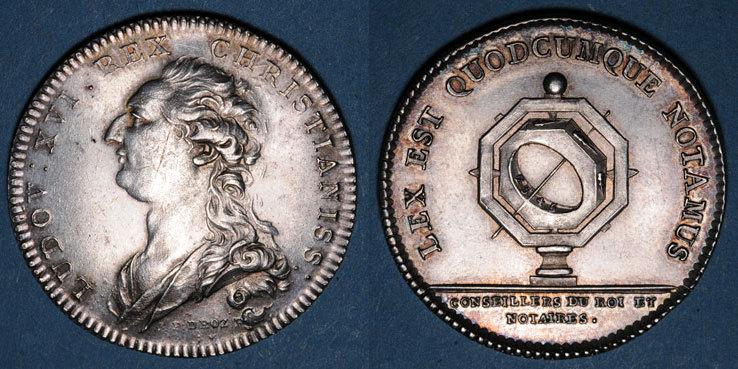 MARKEN - JETONS (RECHENPFENNIGE) Notaires. Paris. Louis XVI. Jeton argent. Gravé par Droz ss / vz
