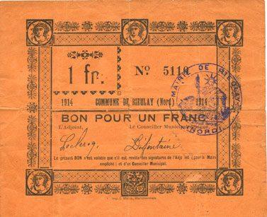 1914 FRANZÖSISCHE NOTSCHEINE Rieulay (59). Commune. Billet. 1 franc 1914 Petite déchirure (3 mm) sinon ss