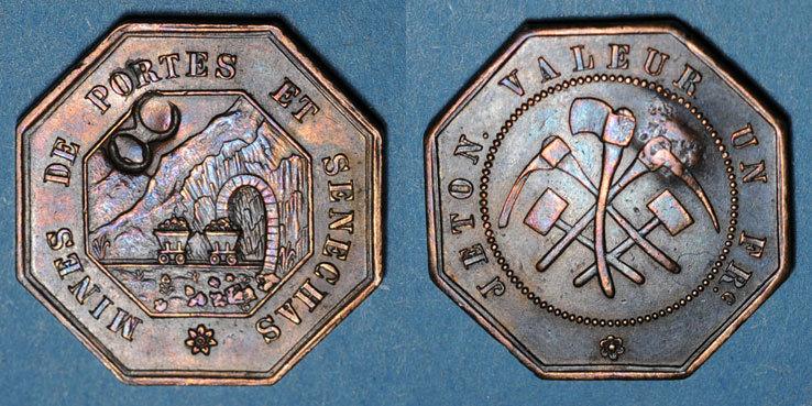 FRANZÖSISCHE NOTMÜNZEN Portes (30). Mines de Portes et de Senechas. 1 franc contremarque