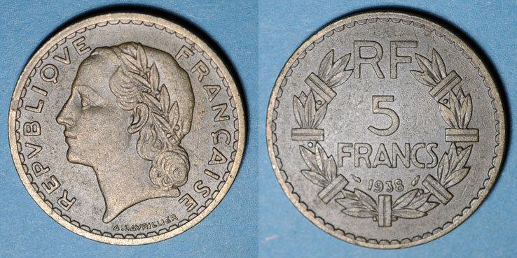 1938 FRANZÖSISCHE MODERNE MÜNZEN 3e république (1870-1940), 5 francs Lavrillier bronze d'aluminium 1938 Petit coup / listel avers sinon ss