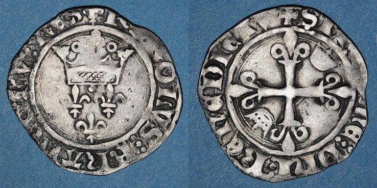 1380-1422 FRANZÖSISCHE KÖNIGLICHE MÜNZEN Charles VI (1380-1422). Monnayage du duc de Bourgogne (1417-1423). Florette. Chalon s-ss
