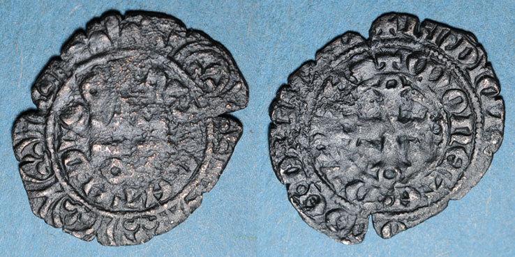 1315-1349 ANDERE FEUDALE MÜNZEN Duché de Bourgogne. Eudes IV (1315-1349). Maille noire double au petit écu de Bourgogne B à s
