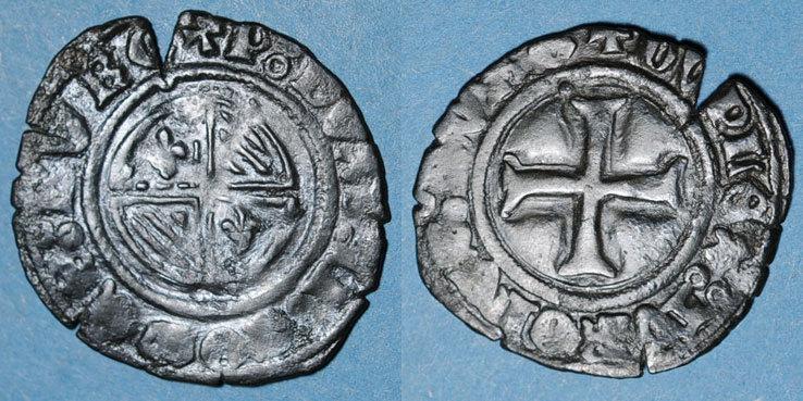 1423 ANDERE FEUDALE MÜNZEN Duché de Bourgogne. Philippe le Bon (1419-1467). Double tournois. Auxonne(?), après 1423 Flan éclaté, s-ss