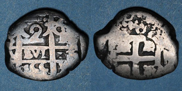 1755 WELTMÜNZEN A bis G Bolivie. Ferdinand VI (1746-1759). 2 reals 1755. Potosi. Lettre d'essayeur : Q s+ / s
