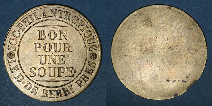 1815-1820 FRANZÖSISCHE NOTMÜNZEN Paris (75). Société Philantropique. Bon pour une soupe (1815-1820) ss
