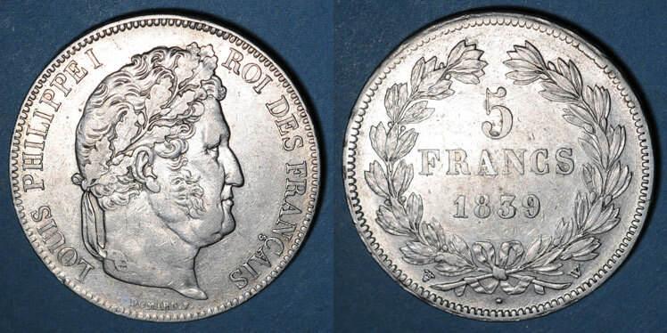 1839 W FRANZÖSISCHE MODERNE MÜNZEN Louis Philippe (1830-1848). 5 francs 1839W. Lille ss