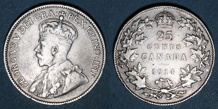 1914 WELTMÜNZEN A bis G Canada. Georges V (1910-1936). 25 cents 1914 Petit choc / listel, s+