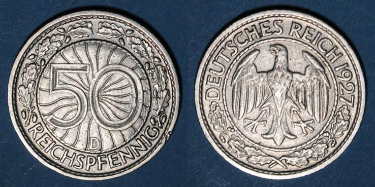 1927 D KAISERREICH MÜNZEN Allemagne, République de Weimar, 50 reichspfennig 1927D Petit coup / listel sinon ss