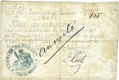 3.2.1915 FRANZÖSISCHE NOTSCHEINE Quéant (62). Commune. Billet. 50 centimes 3.2.1915, série A R ! R ! R !