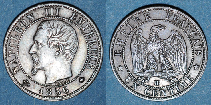 1856 BB FRANZÖSISCHE MODERNE MÜNZEN 2e empire (1852-1870). 1 centime, tête nue, 1856BB. Strasbourg ss+