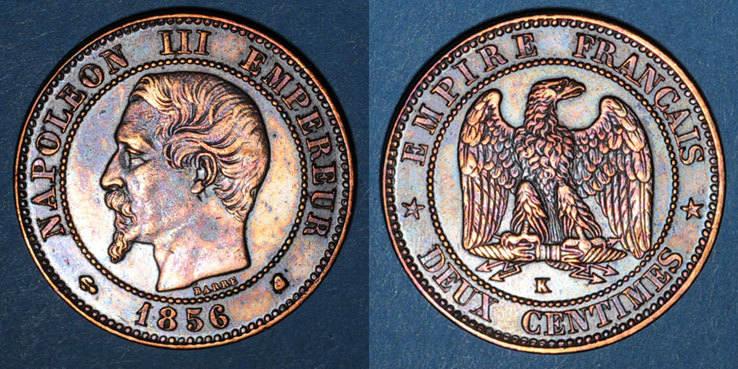 1856 K FRANZÖSISCHE MODERNE MÜNZEN 2e empire (1852-1870). 2 centimes, tête nue, 1856K. Bordeaux Cassure de coin, ss+