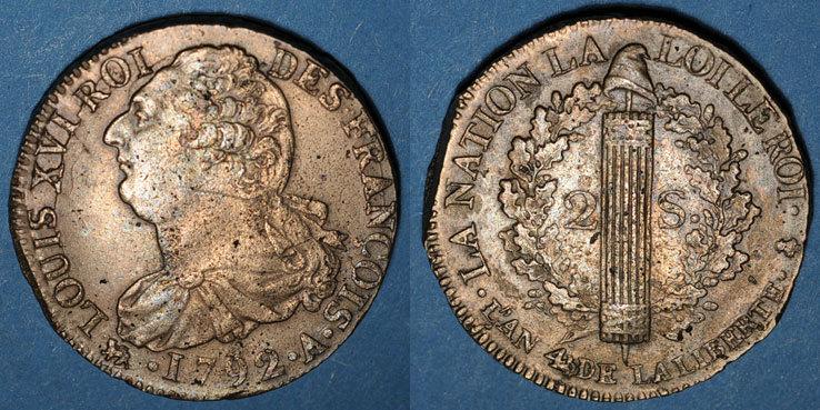 1792 A FRANZÖSISCHE MODERNE MÜNZEN Constitution (1791-1792). 2 sols 1792A, type
