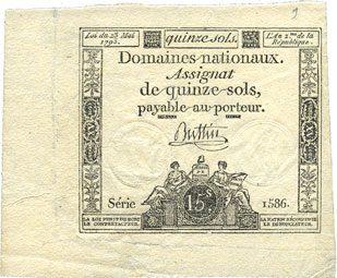 23 mai 1793 ASSIGNATEN Assignat. 15 sols. 23 mai 1793. Signature : Buttin Grandes marges, vz