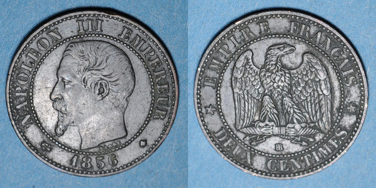 1856 BB FRANZÖSISCHE MODERNE MÜNZEN 2e empire (1852-1870). 2 centimes, tête nue, 1856BB. Strasbourg s-ss / ss