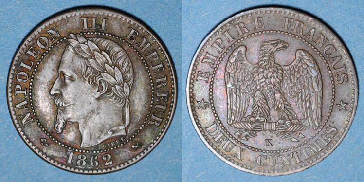 1862 K FRANZÖSISCHE MODERNE MÜNZEN 2e empire (1852-1870). 2 centimes, tête laurée, 1862K. Bordeaux ss