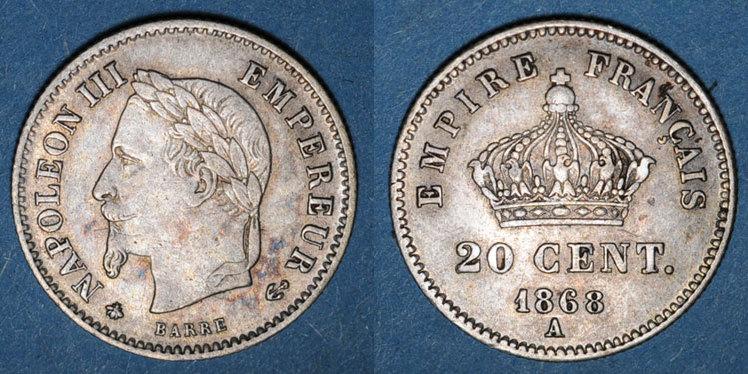 1868 A FRANZÖSISCHE MODERNE MÜNZEN 2e empire (1852-1870). 20 centimes, tête laurée, grand module, 1868A ss