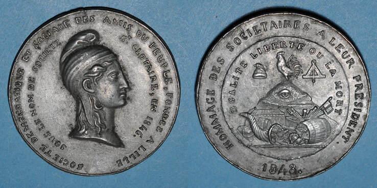 1848 REVOLUTIONÄRE URKUNDEN und KRIEG VON 1870 Révolution de 1848. Clubs du Nord et du Pas de Calais. Médaille étain. 45 mm ss+
