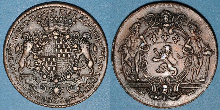 1735 MARKEN - JETONS (RECHENPFENNIGE) Municipalité de Lyon. C. Perrichon. Jeton cuivre 1735 ss+