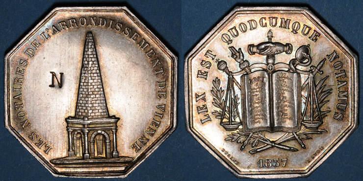 1837 MARKEN - JETONS (RECHENPFENNIGE) Notaires. Vienne. Jeton argent 1837. Poinçon : corne d'abondance N en contremarque dans le champ. vz