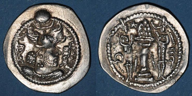 457-484 n. Chr. GRIECHISCHE MÜNZEN Royaume sassanide. Péroz I (457-484). Drachme non datée, type III b / 1e. AS = Ctésiphon. ss+ / ss