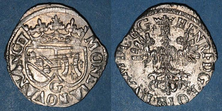 1608-1618 LOTHRINGEN Duché de Lorraine. Henri II (1608-1624). Gros, Nancy (1608-1618) Flan irrégulier et paillé au revers sinon ss