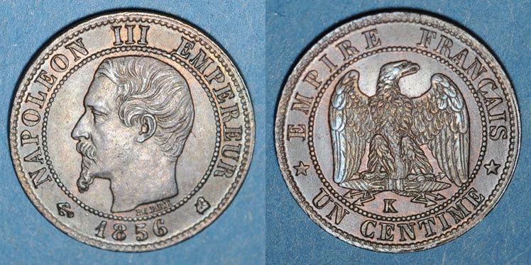 1856 K FRANZÖSISCHE MODERNE MÜNZEN 2e empire (1852-1870). 1 centime, tête nue, 1856K. Bordeaux ss-vz