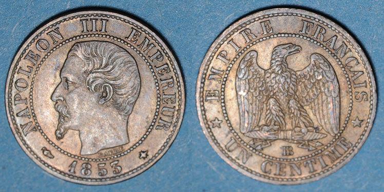 1853 BB FRANZÖSISCHE MODERNE MÜNZEN 2e empire (1852-1870). 1 centime, tête nue, 1853BB. Strasbourg ss+