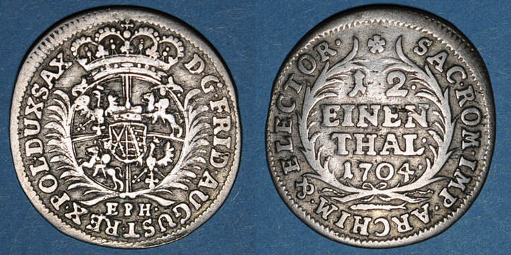 1694-1733 ALTDEUTSCHLAND MÜNZEN Saxe. Frédéric Auguste I (1694-1733). 1/12 taler 1704EPH ss