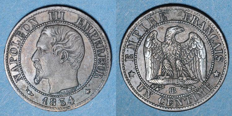 1854 BB FRANZÖSISCHE MODERNE MÜNZEN 2e empire (1852-1870). 1 centime, tête nue, 1854BB. Strasbourg ss