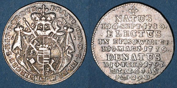 1755-1779 ALTDEUTSCHLAND MÜNZEN Evêché de Wurzbourg. Adam Frédéric de Seinsheim (1755-1779). 3 kreuzer 1795 Type rare avec au revers