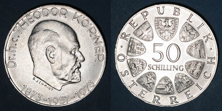 1973 EUROPA Autriche. République. 50 schilling 1973.