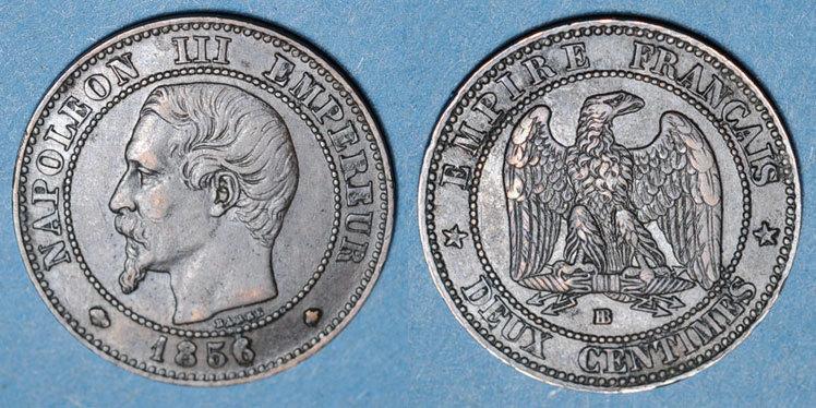 1856 BB FRANZÖSISCHE MODERNE MÜNZEN 2e empire (1852-1870). 2 centimes, tête nue, 1856BB. Strasbourg Léger choc, ss+