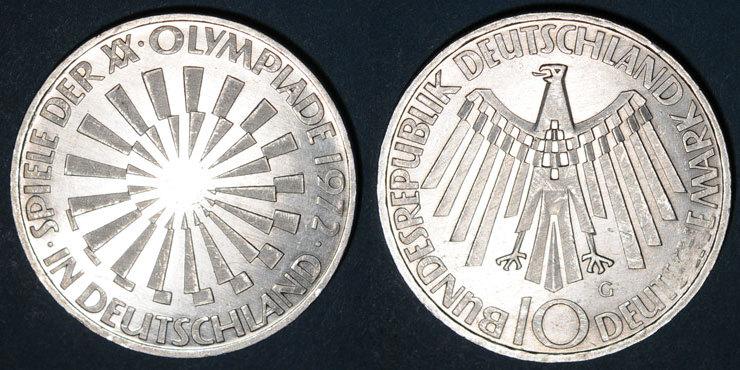 1972 G KAISERREICH MÜNZEN Allemagne. 10 mark 1972G. Jeux olympiques. Spirale,