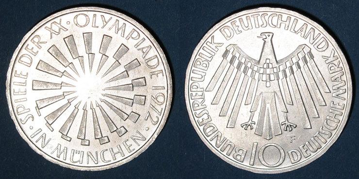 1972 F KAISERREICH MÜNZEN Allemagne. 10 mark 1972F. Jeux olympiques. Spirale,