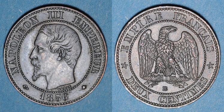 1856 BB FRANZÖSISCHE MODERNE MÜNZEN 2e empire (1852-1870). 2 centimes, tête nue, 1856BB. Strasbourg ss-vz / vz