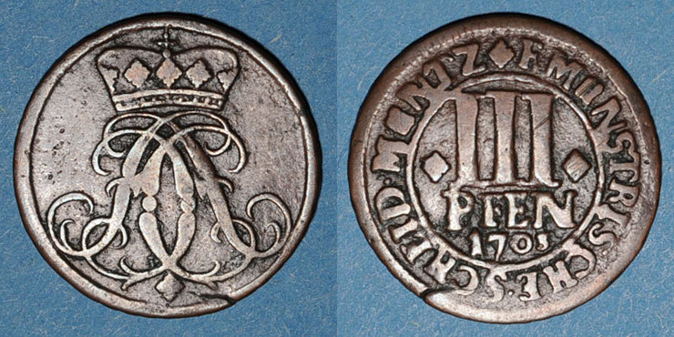 1703 ALTDEUTSCHLAND MÜNZEN Münster. Evêché. Frédéric Christian de Plettenberg (1688-1703). 3 pfennig 1703 s+