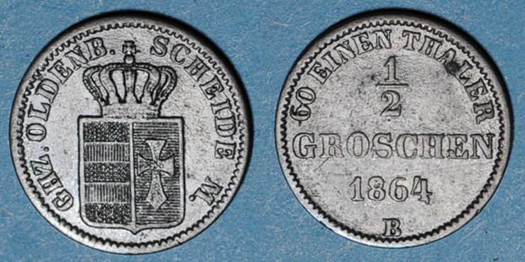 1864 B ALTDEUTSCHLAND MÜNZEN Oldenbourg. Nicolas Frédéric Pierre (1853-1900). 1/2 groschen 1864B ss