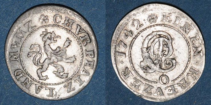 1742 O ALTDEUTSCHLAND MÜNZEN Palatinat-Neubourg. Charles Philippe (1716-42). 1 kreuzer 1742O ss+