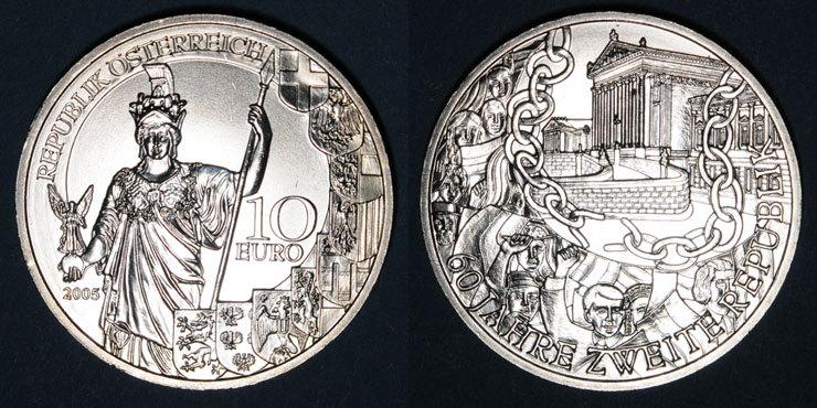 2005 EUROPA Autriche. 10 euro 2005.