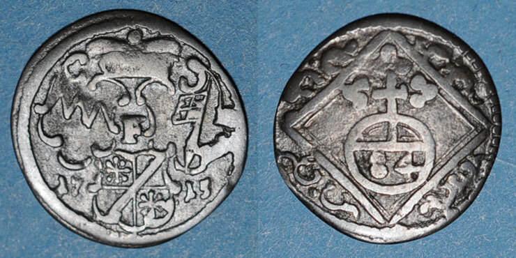 1715 F ALTDEUTSCHLAND MÜNZEN Evêché de Wurzbourg. Jean Philippe II de Greiffenklau (1699-1719). 1/84 gulden (= körting) 1715F Petit choc / listel, s+