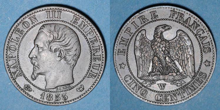 1855 W FRANZÖSISCHE MODERNE MÜNZEN 2e empire (1852-1870). 5 centimes, tête nue, 1855W. Lille. Ancre ss