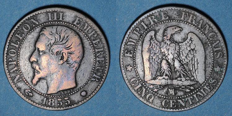 1855MA FRANZÖSISCHE MODERNE MÜNZEN 2e empire (1852-1870). 5 centimes, tête nue, 1855MA. Marseille, ancre s
